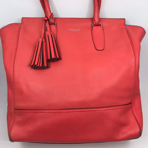 COACH XL Red Leather Shoulder Bag